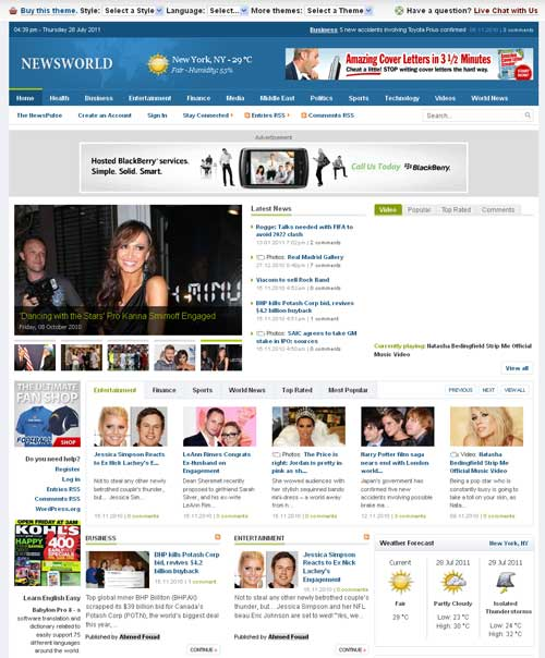 Free Download News World WordPress Theme with Pluigins By Deluxe ...
